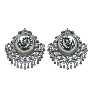 Ethnic Kundan Dangler Silver Chandbali Earrings Main Image
