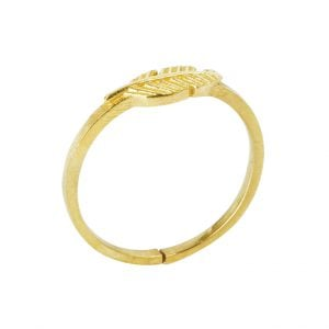Gold Plated Brass Dainty Crusty Leaf Minimal Ring – Adjustable Main Image