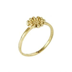 Gold Plated Brass Dainty Daisy Minimal Ring – Adjustable Main Image
