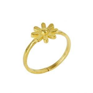 Gold Plated Brass Dainty Fleur Minimal Ring – Adjustable Main Image