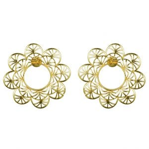 Gold Plated Brass Statement Filigree Stud Earrings – Antheia Main Image