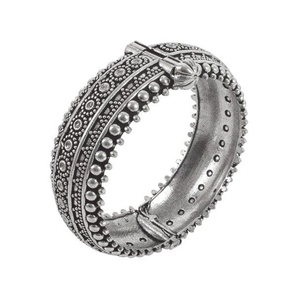 Oxidised Silver Brass Boho Bangle – Adjustable Main Image