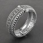 Oxidised Silver Brass Boho Bangle – Adjustable