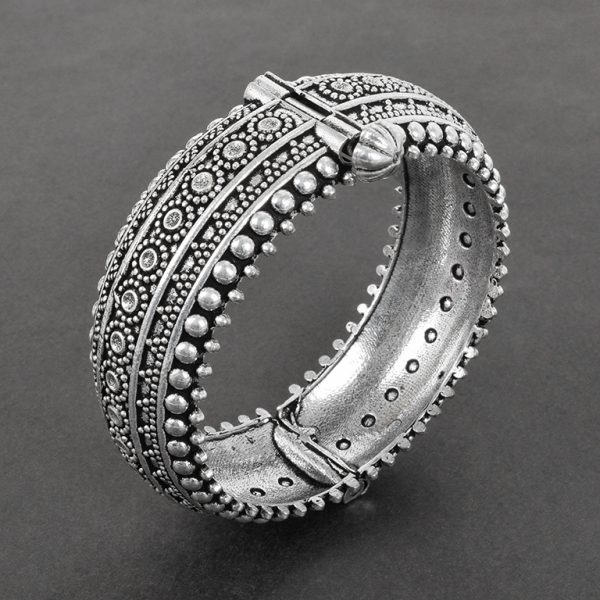 Oxidised Silver Brass Boho Bangle – Adjustable On Black Background