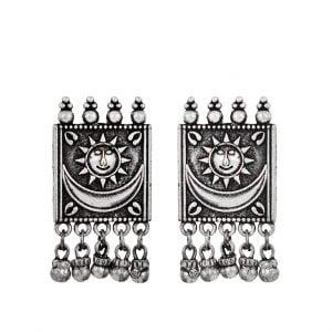 Silver Lookalike Brass Soorya Hanging Earrings Main Image