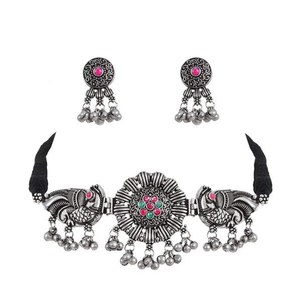 Silver Lookalike Brass Oxidised Elegant Choker Necklace Earrings Set Main Image