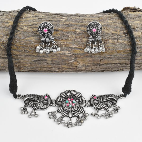 Silver Lookalike Brass Oxidised Elegant Choker Necklace Earrings Set On Wooden Log