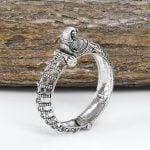 Silver Lookalike Brass Oxidised Jaali Mor Motif Bangle – Adjustable