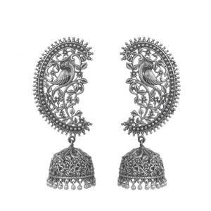 Silver Lookalike Brass Oxidised Royal Jhumki Earrings Main Image