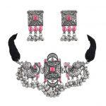 Silver Lookalike Brass Oxidised Studded Statement Choker Necklace Earrings Set