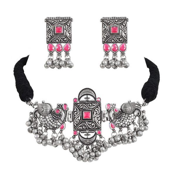 Silver Lookalike Brass Oxidised Studded Statement Choker Necklace Earrings Set Main Image