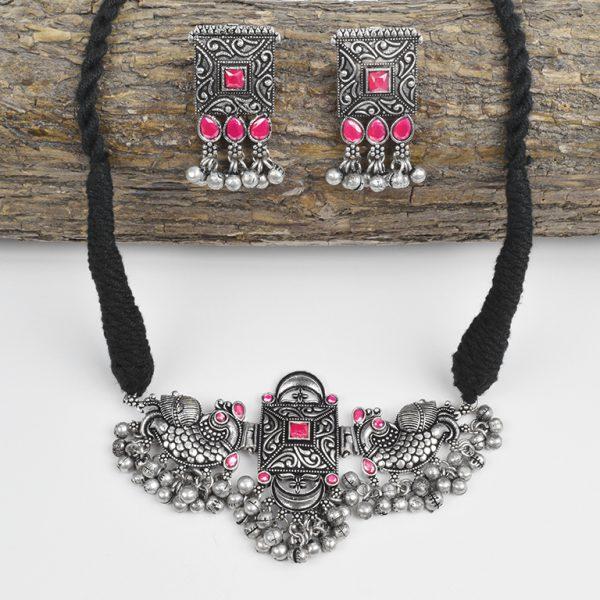 Silver Lookalike Brass Oxidised Studded Statement Choker Necklace Earrings Set On Wooden Log