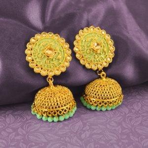Mint Meena Traditional Filigree Antique Golden Jhumka Studio Image