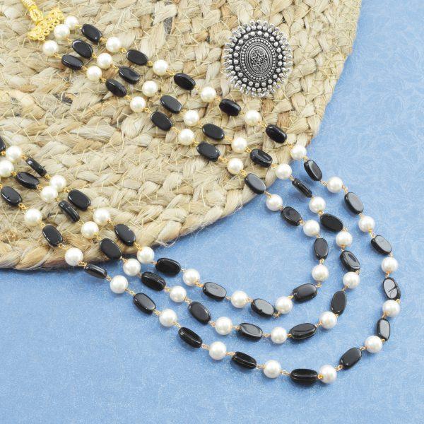 Traditional Layered Glass Beads Mala Necklace- Black Studio Image