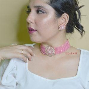 Elegant Party Wear Pink Cubic Zirconia Choker Necklace Earrings Set Lifestyle Image