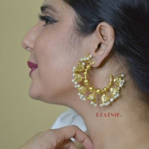 Gold Plated Brass Contemporary Hoop Jhumki Earrings Lifestyle Image