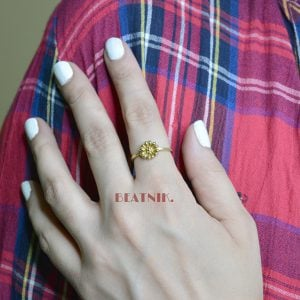 Gold Plated Brass Dainty Daisy Minimal Ring - Adjustable Lifestyle Image