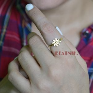 Gold Plated Brass Dainty Fleur Minimal Ring - Adjustable Lifestyle Image