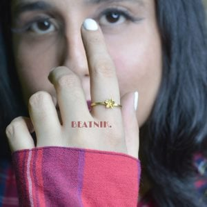 Gold Plated Brass Dainty Minimal Ring – Adjustable Lifestyle Image