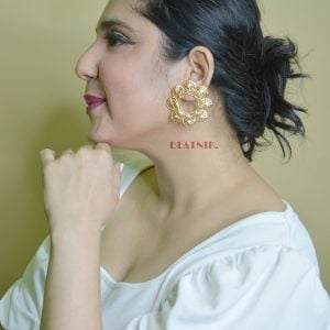 Gold Plated Brass Statement Filigree Stud Earrings - Antheia Lifestyle Image