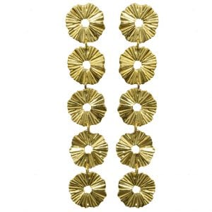Gold Plated Brass Statement Long Minimal Earrings - Hebe Main Image