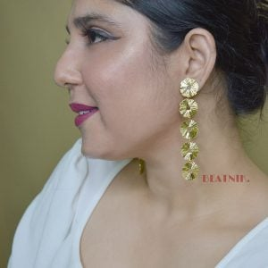 Gold Plated Brass Statement Long Minimal Earrings - Hebe Lifestyle Image