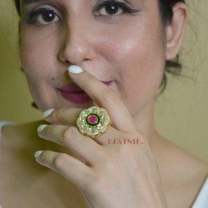 Gold Plated Kundan AD Jadau Adjustable Red Stone Ring Lifestyle Image