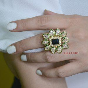 Gold Plated Kundan Jadau Adjustable Ring - Indigo Blue Lifestyle Image