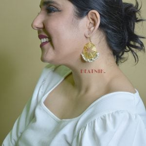 Gold Plated Star Dangler Hanging Earrings Lifestyle Image