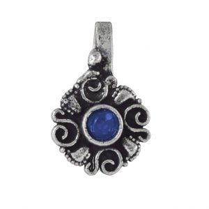 Oxidised Silver Blue Stone Floral Round Clip On Nose Pin Main Image
