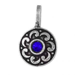 Oxidised Silver Blue Stone Round Clip On Nose Pin Main Image