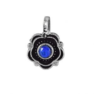 Oxidised Silver Blue Stone Studded Clip On Nose Pin Main Image