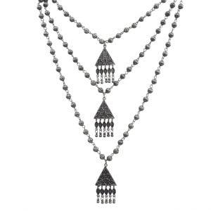 Oxidised Silver Layered Boho Long Necklace Main Image