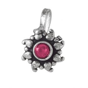 Oxidised Silver Red Stone Round Clip On Nose Pin Main Image