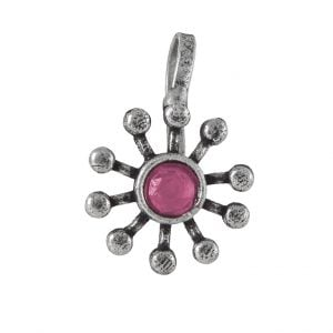 Oxidised Silver Red Stone Spokes Clip On Nose Pin Main Image