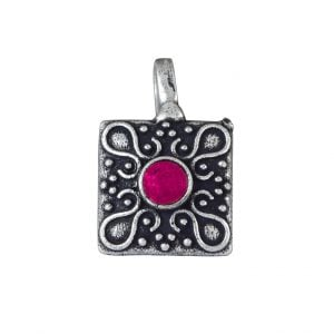 Oxidised Silver Red Stone Square Clip On Nose Pin