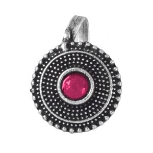 Oxidised Silver Red Stone Textured Round Clip On Nose Pin Main Image