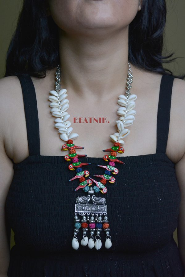 Oxidised Silver Shell Motifs Quirky Long Necklace Lifestyle Image