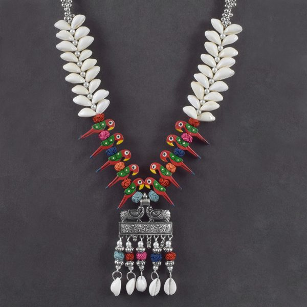 Oxidised Silver Shell Motifs Quirky Long Necklace On Black Background