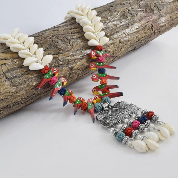 Oxidised Silver Shell Motifs Quirky Long Necklace On Wooden Log