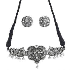 Silver Lookalike Brass Oxidised Antique Choker Necklace Earrings Set Main Image