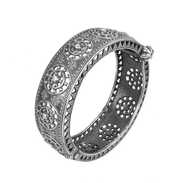 Silver Lookalike Brass Oxidised Boho Round Bangle - Adjustable Main Image