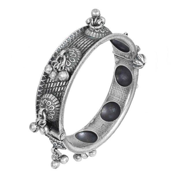 Silver Lookalike Brass Oxidised Boho Statement Ghungroo Bangle – Adjustable Main Image