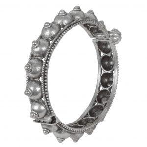 Silver Lookalike Brass Oxidised Boho Statement Round Bangle - Adjustable Main Image