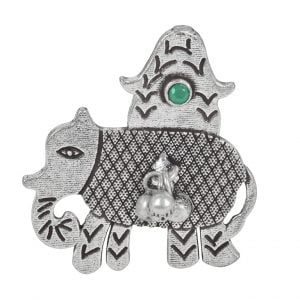 Silver Lookalike Brass Oxidised Elephant Motif Ghungroo Ring - Adjustable Main Image