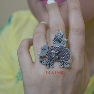 Silver Lookalike Brass Oxidised Elephant Motif Ghungroo Ring - Adjustable Lifestyle Image