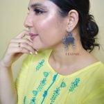 Silver Lookalike Brass Oxidised Elephant Motif Ghungroo Stud Earrings
