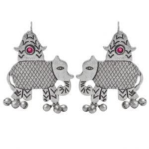 Silver Lookalike Brass Oxidised Elephant Motif Ghungroo Stud Earrings Main Image