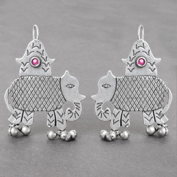 Silver Lookalike Brass Oxidised Elephant Motif Ghungroo Stud Earrings On Black Background