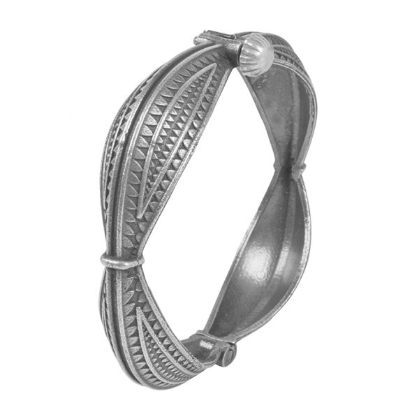 Silver Lookalike Brass Oxidised Minimal Boho Bangle - Adjustable Main Image